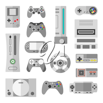 Computer console with game controllers for video games. Collection of controller for video game, joystick with button control gaming. Vector illustrations in cartoon style