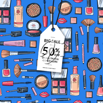 Vector flat style makeup and skincare background with white sale tag illustration
