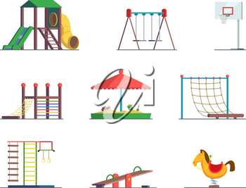 Playground equipment. Fun area for kids. Vector set playground and swing for amusement park illustration