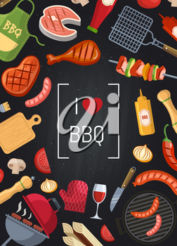 Vector barbecue or grill illustration with coking elements on chalkboard