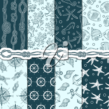Different seamless patterns set of marine and nautical elements. Vector stripes, anchors and ropes. Sea and marine pattern background, anchor and rope illustration