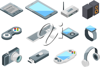 Different electronic gadgets collection. Isometric technology symbols. Vector pictures set isolate gadget and device, digital tablet equipment illustration