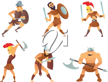 Rome knights or gladiators in different action poses. Gladiator and knight warrior, soldier in helmet with shield, vector illustration