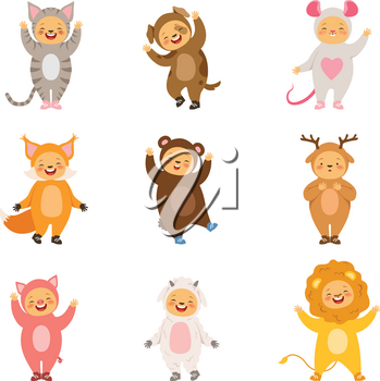 Kids party costumes of funny cartoon animals. Vector pictures isolate on white. Illustration of costume animal, happy child