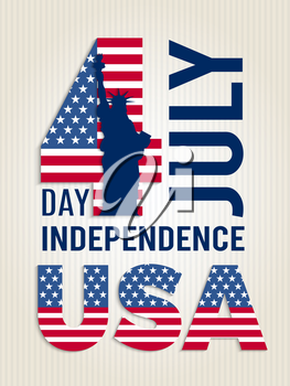 Poster for USA independence day. Design template of american 4 july retro placard vector illustration