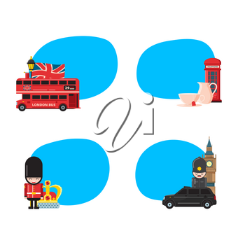 Vector cartoon London sights and objects stickers set with place for text illustration
