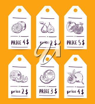 Vector price tag set with doodle sketched fruits and vegetables. Price shop label tag, sticker product food illustration