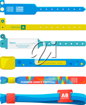 Design template of entrance bracelet at concert zone, performing party, dancing club. Event for party. Bracelet for entrance to festival, access to event. Vector illustration