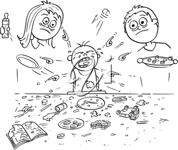 Hand drawing cartoon vector illustration of spoiled spoilt crying baby doing mess around during eating, pointing and demanding things all around. Unhappy parents - mother and father are standing behin