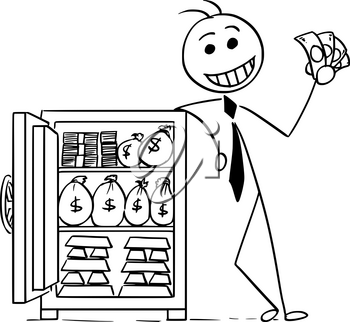 Cartoon stick man illustration of smiling business man businessman posing with vault full of money and gold.