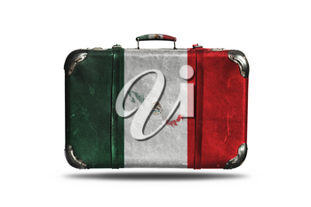 Travel Vintage Leather Suitcase With Flag Of Mexico and Country Map Isolated On White Background