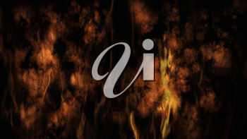 Smoke and Fire On Black Background 3D Rendering