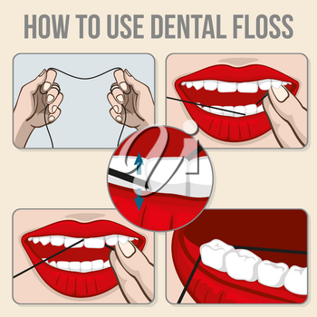 Flossing teeth vector infographics. Hygiene flossing tooth, medicine dental flossing and oral care vector illustration