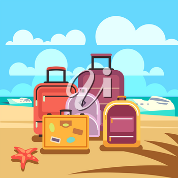 Traveling planning, summer vacation, tourism vector background with passenger luggage. Summertime travel and baggage for summer journey illustration