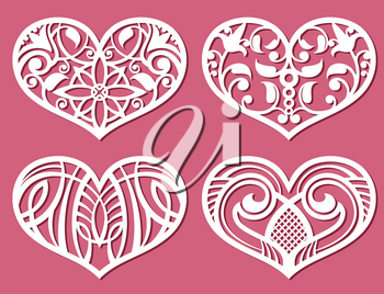 Laser printing romantic lacy wedding hearts with carved pattern vector. Set of paper pattern in shape of heart for decoration wedding illustration