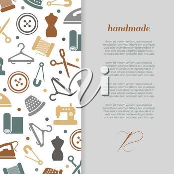 Handmade, handcraft, sewing banner poster design with icons. Vector illustration