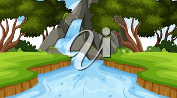 Landscape background design with waterfall in forest illustration