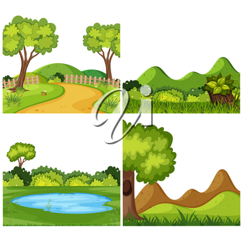A set of outdoor scene including grass illustration