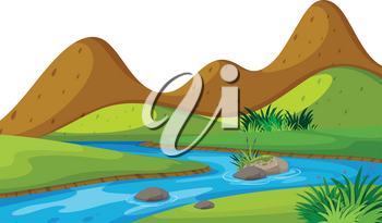 Scenery background of river and mountains illustration