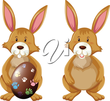 Brown bunny with easter egg illustration