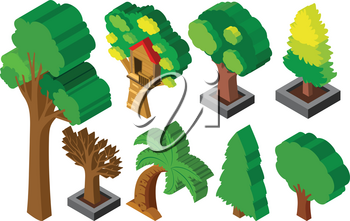 3D design for many types of trees illustration