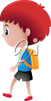 School boy with yellow backpack illustration