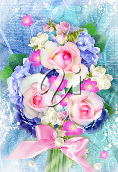 Beautiful bouquet with blooming hydrangea and rose flowers on grunge background. Can be used as greeting card, invitation card for wedding, birthday and other holiday.