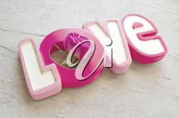Word love with rose on white wooden background. Valentine day background