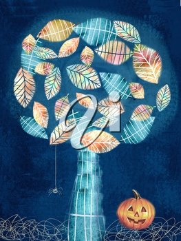 Halloween theme. Art illustration of dark halloween holiday scary little spider on web hanging on mysterious tree and pumpkin in the grass. Based on hand drawn elements.
