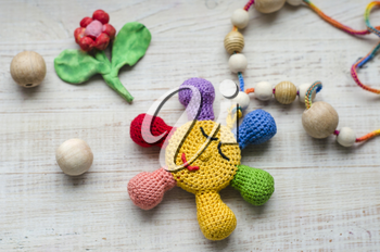 ,Necklace made from knitted beads for the baby sitting in a sling. Knitted beads. Sling necklace.