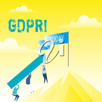 Handwriting text Gdpr. Conceptual photo General Data Protection Regulation privacy eu laws compliance People Holding Arrow Going Up the Mountain. Blank Banner on Pole at the Peak