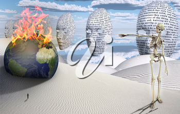 Surreal white desert. Figure of man in a distance. Masks floats in the sky. Burning globe. Skelton.