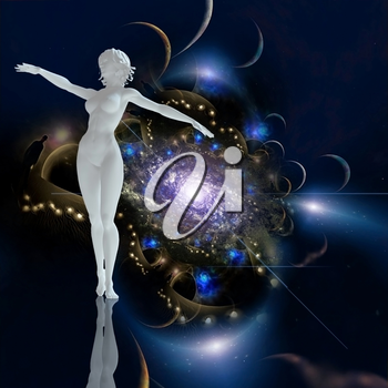 Graceful woman statue. Galaxy in endless space on the background