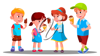 Group Of Boys And Girls Eating Ice Cream Vector. Sweet. Eating. Illustration