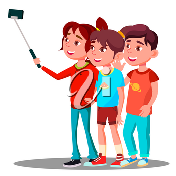Group Of Children Make A Selfie Picture On Mobile Phone Vector. Illustration
