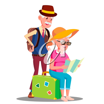 Elderly Couple At The Airport With Suitcases Vector. Illustration