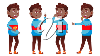 Boy Schoolboy Kid Poses Set Vector. Black. Afro American. High School Child. Caucasian, Kids, Positive. For Postcard, Cover, Placard Design. Isolated Cartoon Illustration