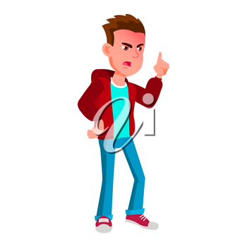 Boy Schoolboy Kid Poses Vector. High School Child. Secondary Education. Educational, Auditorium, Lecture. For Card, Advertisement, Greeting Design. Isolated Cartoon Illustration