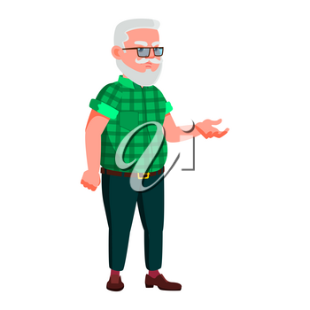 Old Man Poses Vector. Elderly People. Senior Person. Aged. Positive Pensioner. Advertising, Placard, Print Design. Isolated Cartoon Illustration