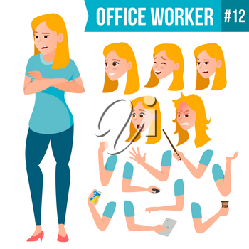 Office Worker Vector. Woman. Happy Clerk, Servant, Employee. Business Woman Person. Lady Face Emotions, Various Gestures. Animation Creation Set. Flat Character Illustration