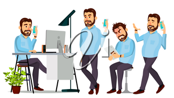 Boss Character Vector. IT Startup Business Company. Body Template For Design. Various Poses, Situations. Cartoon Business Illustration