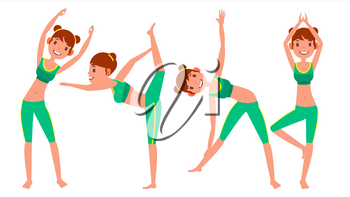 Yoga Woman Poses Set Female Vector. Yoga Figures, Silhouettes. Different Positions. Isolated Flat Cartoon Character Illustration