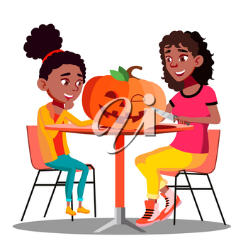 Mother And Daughter Making A Pumpkin For Halloween Vector. Halloween Illustration