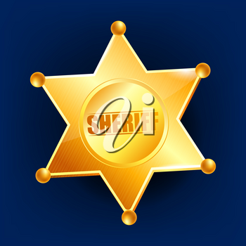 Sheriff Badge Vector. Golden Star. Western Style. 3D Realistic Illustration