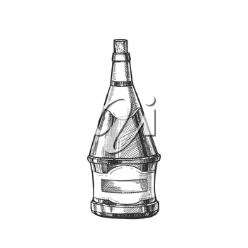 Conical Hand Drawn Blank Bottle Of Wine Vector. Ink Design Sketch Modern Bottle Of Grape Alcoholic Liquid. Concept Monochrome Black And White Mockup Glass Container Template Cartoon Illustration