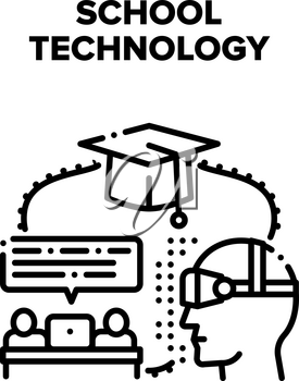 School Modern Technology Vector Icon Concept. Laptop And Vr Glasses For Pupils Remote Studying, Educational Technology For Learning Lesson. E-learning And Graduation Black Illustration