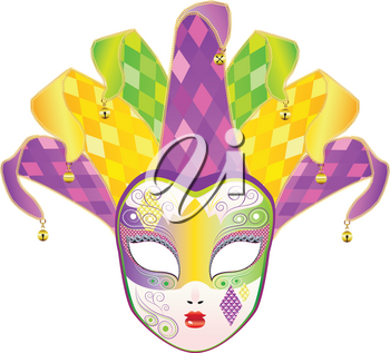 Decorative full face carnival mask with jolly hat.