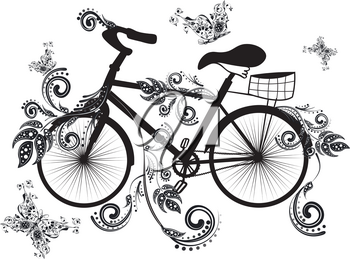 Vintage bicycle with decorative floral ornament and butterflies.