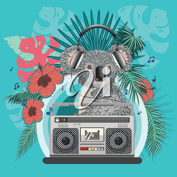 Retro music poster with grey koala bear, boombox and tropical leaves design.