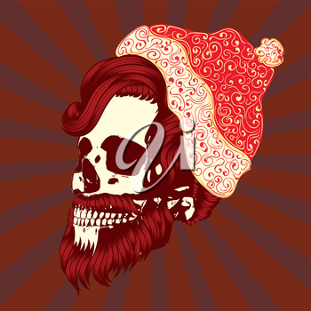 Christmas skull with modern hairstyle and beard wears santa cap illustration.